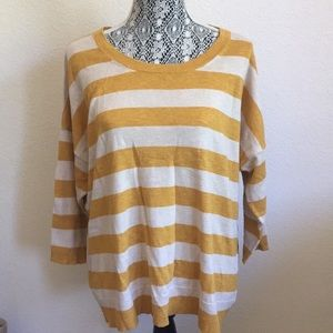 Mustard yellow striped keyhole sweater and cream L